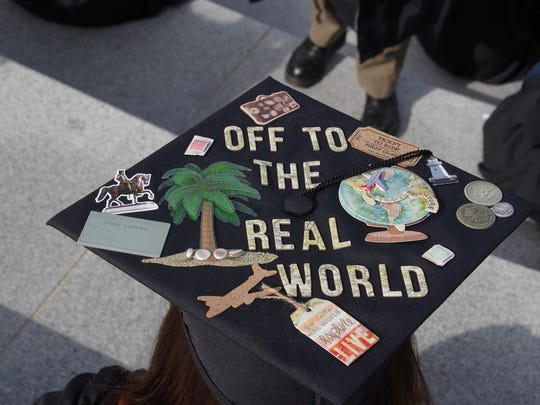 Message on a graduate's mortorboard at the Champlain College commencement.