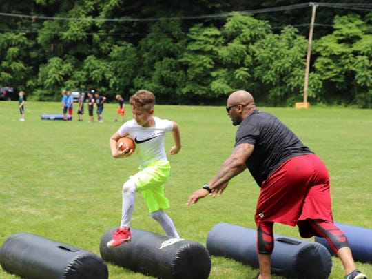 The Hunterdon Huskies recently held their annual NFL Football Camp at Union Forge Field in High Bridge, which was open to all area athletes between 5 and 14 years of age.