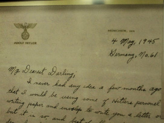A copy of the letter written by 2nd Lt. John Klisz on Adolf Hitler's personal stationery at the end of World War II.