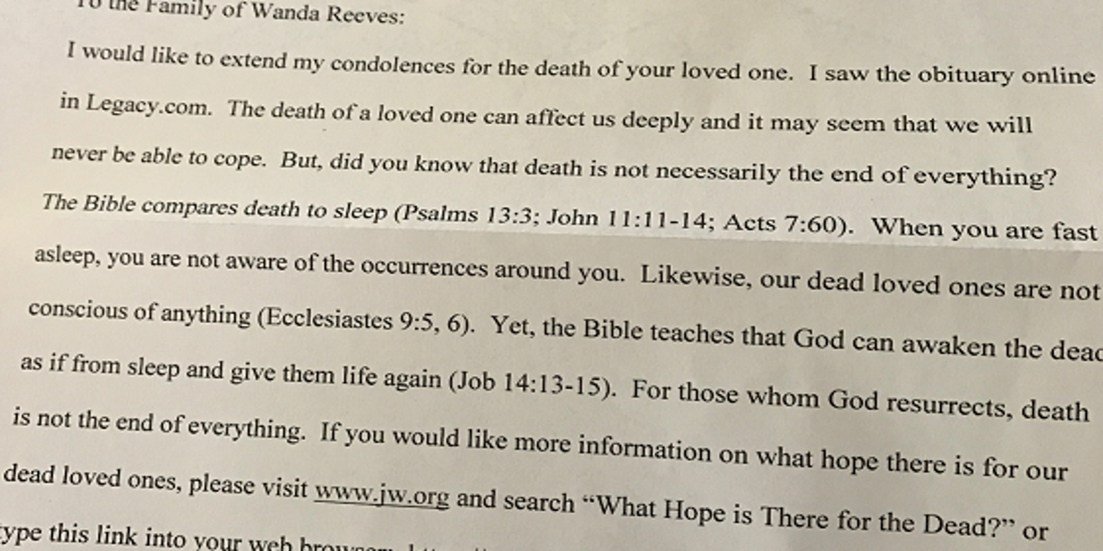 Trolling the obits in the name of God