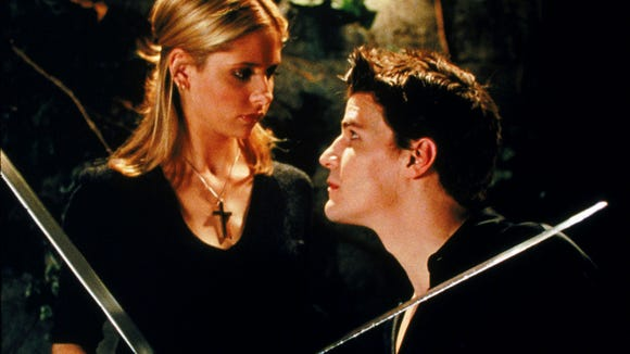 "Sarah Michelle Gellar and David Boreanaz in ""Buffy the Vampire Slayer."""