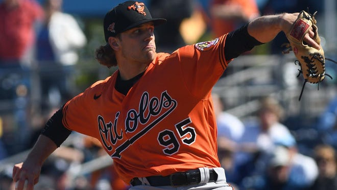 Harbor Creek High School graduate Isaac Mattson pitches for the Baltimore Orioles against the Tampa Bay Rays on March 7, 2020, during a spring training game in Florida. Mattson made two appearances for the Orioles before spring training was suspended over concerns about the coronavirus. Mattson was promoted to the Orioles' active roster on Monday.