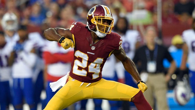 Washington Redskins defensive back Josh Norman (24) reacts after a play during the first half of an NFL preseason football game against the Buffalo Bills, Friday, Aug. 26, 2016, in Landover, Md. (AP Photo/Nick Wass) ORG XMIT: FDX10