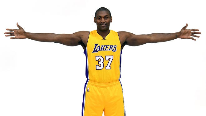 Sep 26, 2016; Los Angeles, CA, USA; Los Angeles Lakers forward Metta World Peace poses at media day at Toyota Sports Center.. Mandatory Credit: Kirby Lee-USA TODAY Sports
