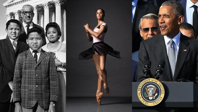 Thurgood Marshall, Misty Copeland and Barack Obama are three out of many incredible African Americans to celebrate during Black History Month and beyond. Credit, left to right: Associated Press,  Geoff Burke-USA TODAY Sports, and Henry Leutwyler).