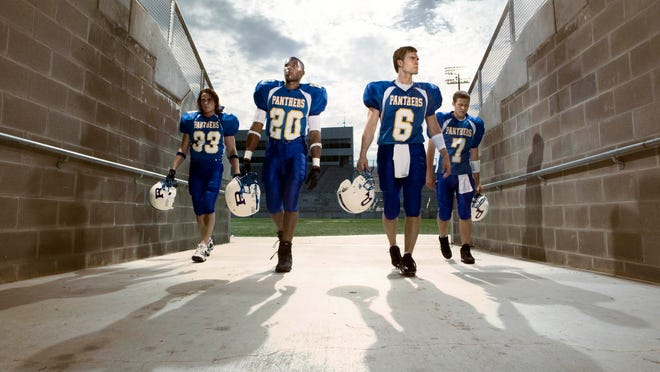 """You can catch """"Friday Night Lights,"""" starring, from left, Taylor Kitsch, Gaius Charles, Scott Porter and Zach Gilford on Netflix."""