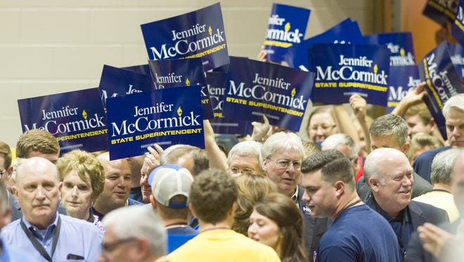 Supporters for Jennifer McCormick enter the convention hall. The Indiana Republican state convention was held Saturday, June, 11, 2016, at the Indiana Convention Center where over 1,900 delegates voted for the candidates that will be on the ballot in November.