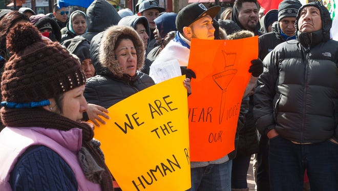 Thousands flock to A Day without Immigrants rally Feb/ 16, 2017, at Town Square in Lakewood, N.J.
