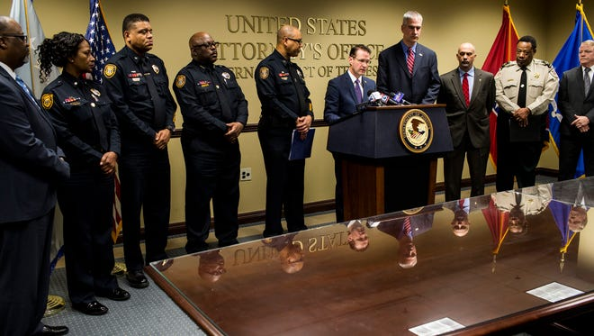 """February 08, 2018 - U.S. Attorney Michael Dunavant for the Western District of Tennessee, center, during a press conference at the Clifford Davis Odell Horton Federal Building. Dunavant announced the indictment of 25 members of """"Major Stackz Entertainment"""" with a variety of charges regarding distribution of multiple drugs in West Tennessee."""