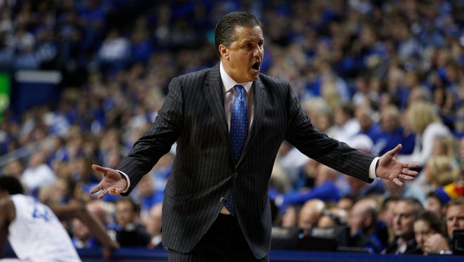 Kentucky head coach John Calipari talks to the bench in the second half. The University of Kentucky Men's Basketball team hosted Boston University, Friday, Nov. 21, 2014 at Rupp Arena in Lexington. Photo by Jonathan Palmer, Special to the CJ