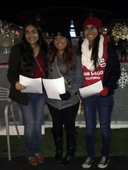 Adilene Chapina, left to right, Madeleine Vasquez and