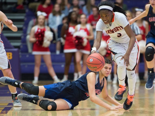 Ensworth's Jordyn Cambridge steals the ball from BA's