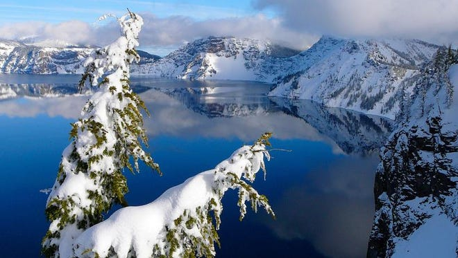 Crater Lake is not the same national park in winter as it is in summer, and on a clear day, you can get views such as this on a free guided snowshoe walk with a park ranger.