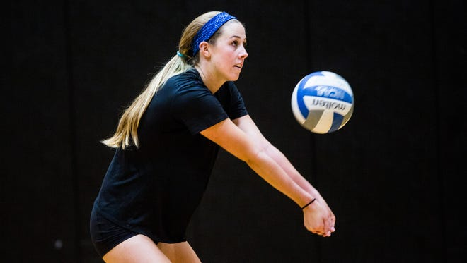Anderson volleyball athlete Marissa Mitter during practice recently. Mitter is one athlete who's attended a new sports-geared ministry at Anderson.