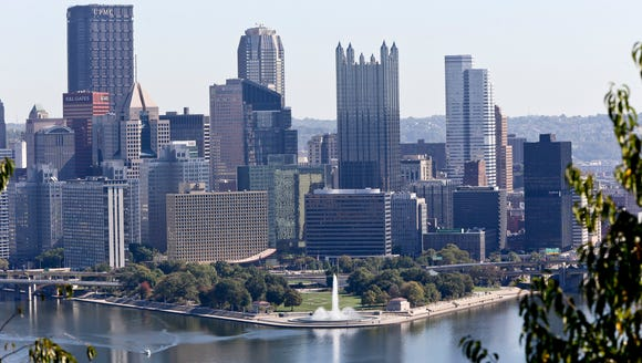 The skyline of downtown Pittsburgh is seen on Oct.