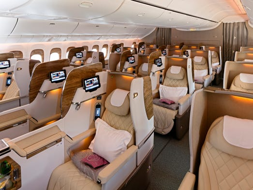 Emirates' business-class cabins on its Boeing 777