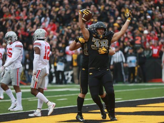Iowa's T.J. Hockenson (38) scored two touchdowns against