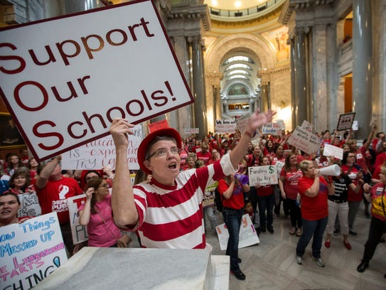 Karen Schwartz joined a teacher rally at the Capitol