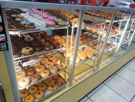 Donut case at Dutch Donut Factory in Mesa, AZ.