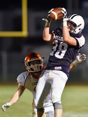 West York's Eli Bentzel gets the reception against Central York in the second half of a YAIAA football game Friday, Sept. 1, 2017, at West York. Central York defeated West York 28-13 in the first high school football game of the YAIAA season.
