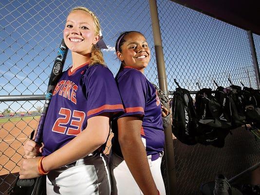 Rudy Gutierrez—El Paso Times Cassie Keys, No. 23, and Kasey Flores, No. 24, are teammates on the Eastlake High School softball team.