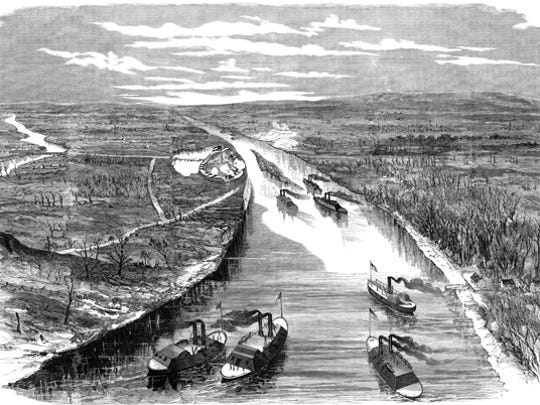 An aerial artist's rendering of the scene overlooking the Feb. 6, 1862 Battle of Fort Henry on the Tennessee River.