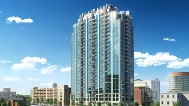 An artist's rendering of the planned SkyHouse Nashville, a luxury apartment high-rise at Broadway and 17th Avenue South.
