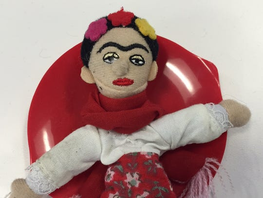A finger puppet magnet of Frida Kahlo makes a fun Galentine's