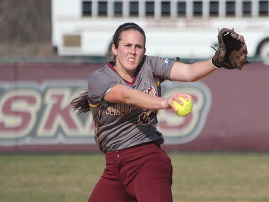 Souoth Western graduate Sarah Bortner is one of three pitchers getting the job done for the Bloomsburg softball program.