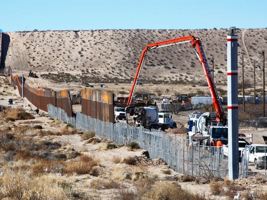 Construction on a section of the border fence continues as is shown in these photos taken from Juarez, Mexico.