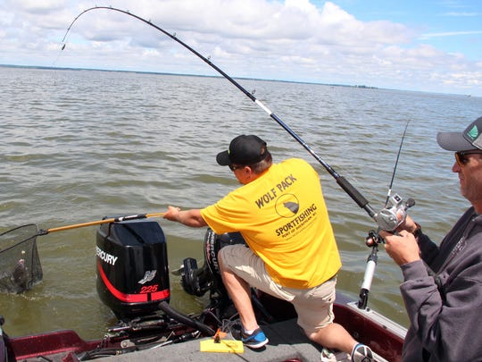 Tyler Chisholm of Plymouth, a charter captain with Wolf Pack Adventures, nets a fish for Jason Houser, an outdoors writer from Toledo, Ill., on a fishing outing on Green Bay. Photo taken
