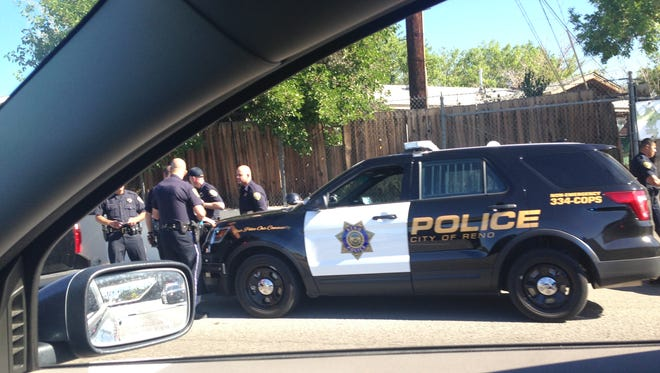 Reno police on the scene of Wednesday morning arrest on East Second Street.