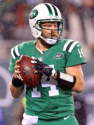 New York Jets quarterback Ryan Fitzpatrick (14) drops back to pass against the Buffalo Bills at MetLife Stadium.