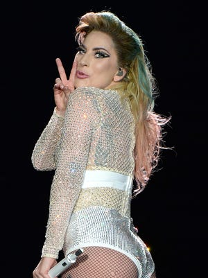 """Lady Gaga performs onstage during her """"Joanne"""" World Tour at Citi Field, in New York, on Monday."""