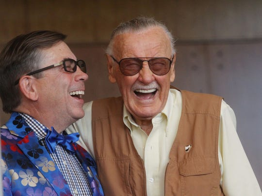 At right, Stan Lee, president and chairman of Marvel Comics, shares a laugh with Palm Springs Mayor Robert Moon at the Palm Springs Convention Center on the opening of Comic Con Palm Springs on August 26, 2016.