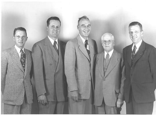 Carlsbad Kiwanis Club officers Jack Rauch, Tommy Thompson, Bob Jones, the Rev. Bill Dando and Gerald Rhoads, pictured in 1952.