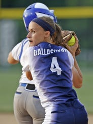 Dallastown's Lyndee Anders puts the tag on the base