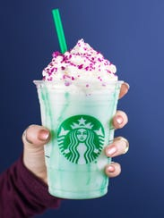 A view of the purple Crystal Ball Frappuccino.