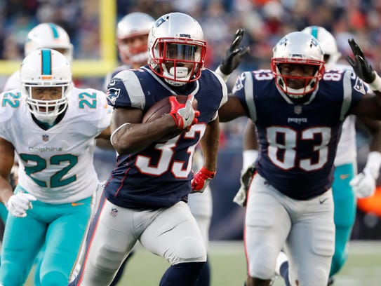 Dion Lewis leads the Patriots ground game.