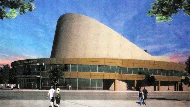 An artist's rendering shows the proposed Mexican American Cultural Center. The existing Abraham Chavez Theatre in Downtown El Paso will be renovated to create the center.