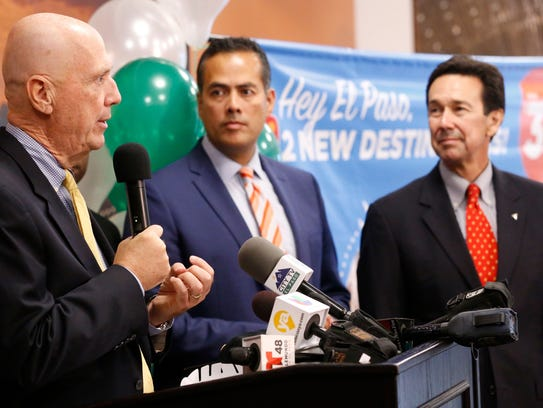 Borderplex Alliance CEO Jon Barela, far right, listens