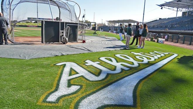 A general view of a Athletics logo at Hohokam Stadium.
