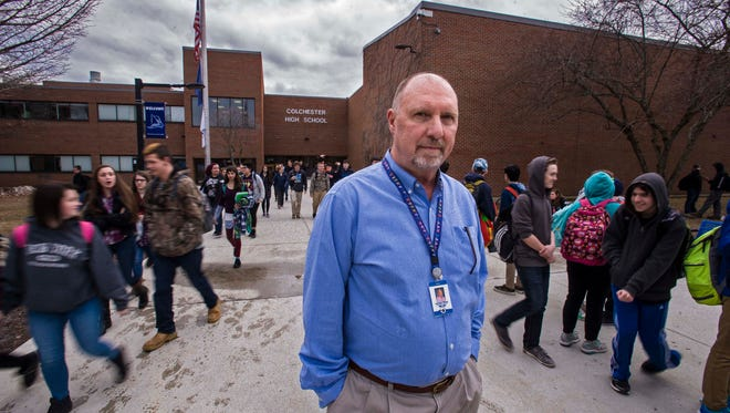 Larry Waters, Colchester's superintendent of schools, seen outside Colchester High School on Wednesday, February 17, 2016.  The proposed school budget for fiscal year 2017 features increased spending but a reduction in taxes.