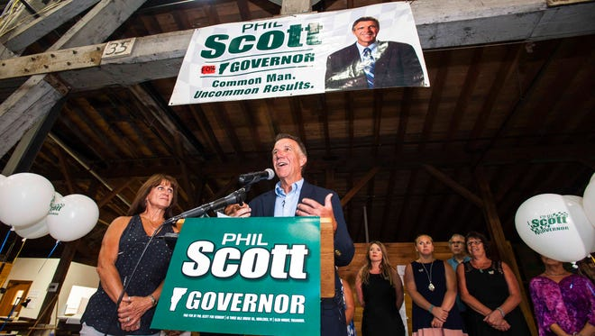 Republican gubernatorial candidate Lt. Gov. Phil Scott, speaks in Barre on Tuesday, August 9, 2016, after defeating Bruce Lisman in the primary.