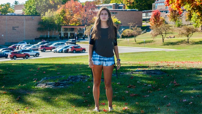 Burlington High School student Alida Beste seen on Friday, October 7, 2016, was told by school administrators that her shorts were too revealing.