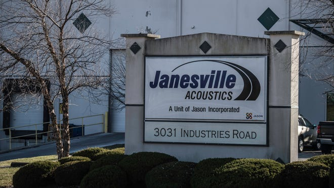A sign at the front of Janesville Acoustics, 3031 Industries Road, is seen Thursday, Dec. 21, 2017.
