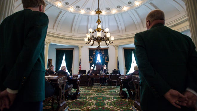 Lt. Governor David Zuckerman, center, presides over the Senate during a special session of the Legislature at the Statehouse in Montpelier on Wednesday, May 23, 2018.