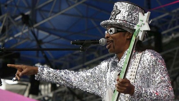 Local music legend Bootsy Collins plays at Saturday's Health Expo in Washington Park, hosted by the Center for Closing the Health Gap.