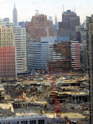 Recovery and cleanup work continues at New York's World Trade Center in this Feb. 13, 2002, file photo.