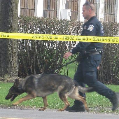 A state police K-9 unit checks the area around the